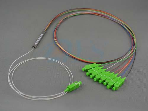 1 * 8 PLC SC/APC Tube Type Optical Fiber Splitter For Data Communication