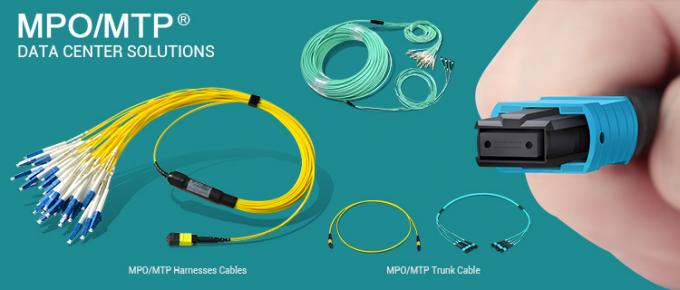 8f 12f 24f Singlemode Multimode MPO/MTP To LC MPO Breakout Cable 1