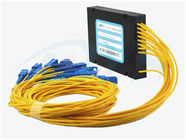 China Yellow Optical Fiber 1*16 PLC Splitter With SC / UPC Connector For Data Communication factory
