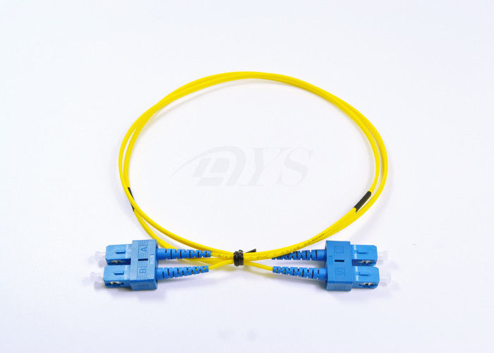 China SC / UPC - SC / UPC single mode fiber optical patch cord Yellow Color supplier