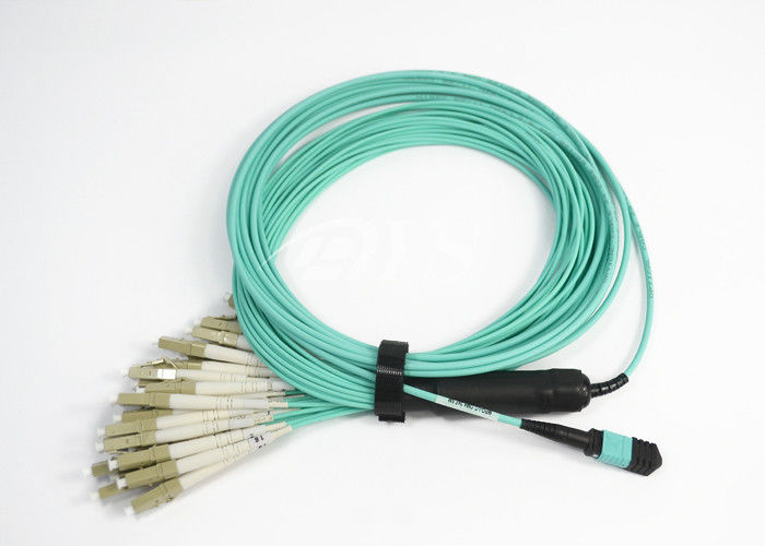 China Standard Green / Elite Yellow fiber optic jumper OM3 MPO - LC 24 Core supplier