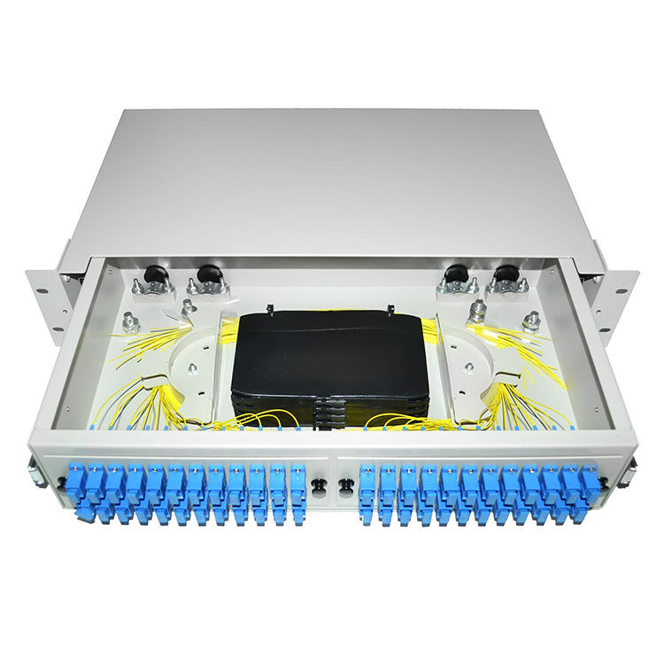 China 24 48 96 Ports Dustproof LC SC 19' Rack Mount Fiber Terminal Box Enclosure Fiber Distribution Patch Panel supplier