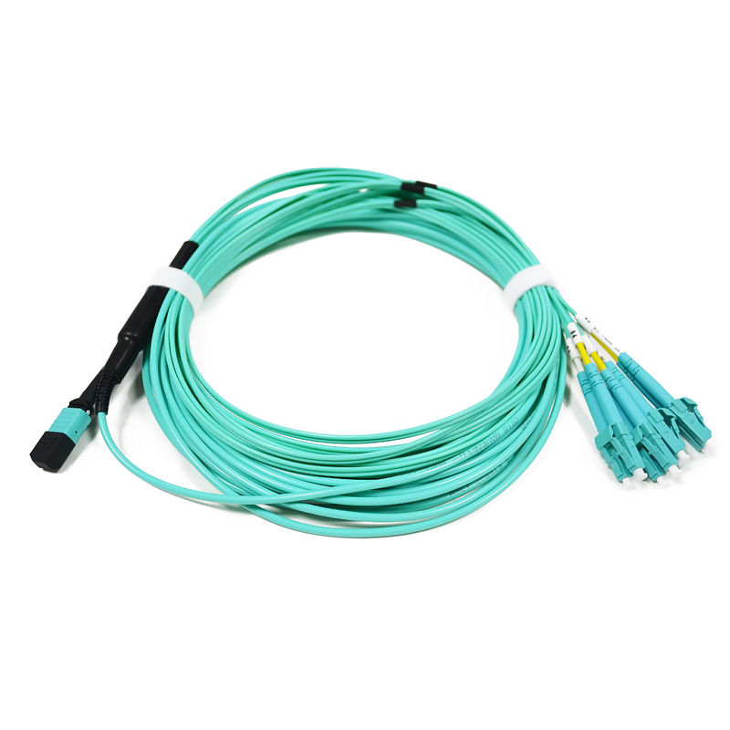 China Fiber Optic OM3 40G OFNP MPO/MTP to LC fanout Patch Cord supplier