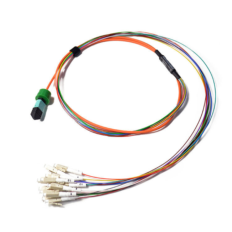 12 Cores MPO/MTP Fiber Optic Patch Cord Customized Length Low Insertion Loss supplier