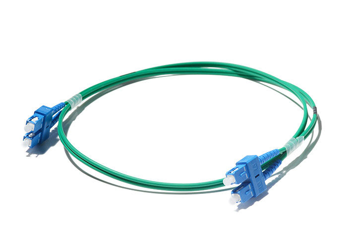 China SC / UPC - SC / UPC Optical Fiber Patch Cord Duplex Multimode Green Color supplier