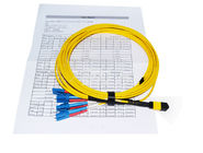 MTP F - LC 8 Core Optical Fiber Patch Cord 6m Round LSZH Jacket For Warehouses